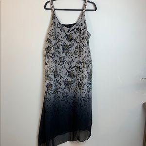 Lane Bryant Maxi Sheer Floral Black Dye Dress
